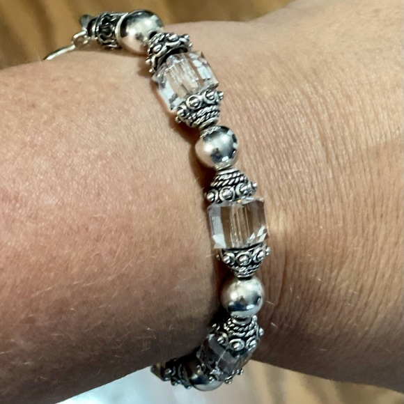 Beautiful Sterling Silver & Crystal Bead Bracelet
